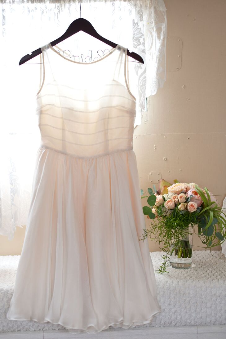 Short White Wedding Dress with Peach DIY Petticoat