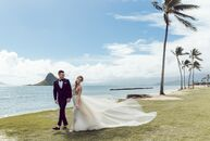 Marielle and TK Mckamy's intimate waterfront wedding on the windward side of Oahu, Hawaii, was a contemporary bohemian affair laced with plenty of per