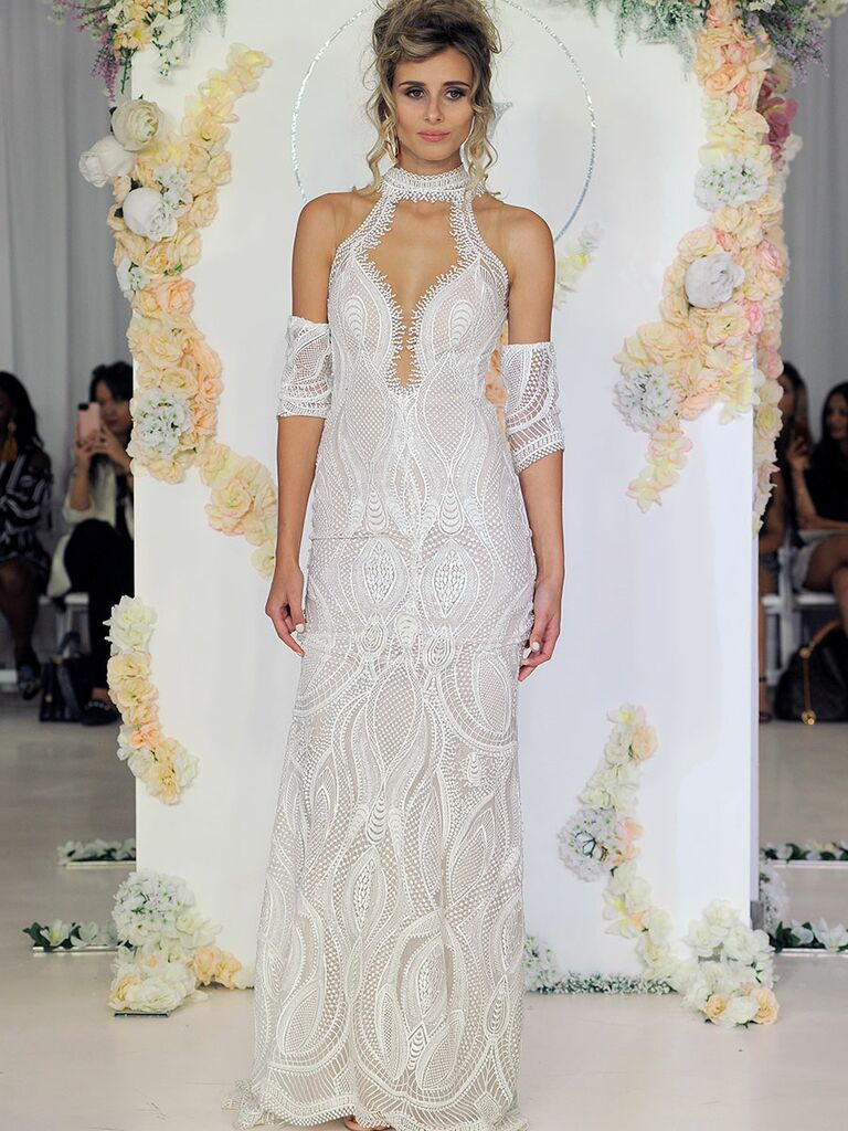 Julie Vino Fall 2018 cut-out lace wedding dress with high collar