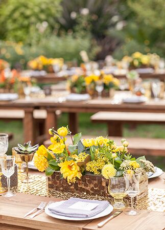 bright yellow centerpieces | She Wanders | blog.theknot.com