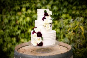 Romantic Burgundy and Ivory Wedding Cake
