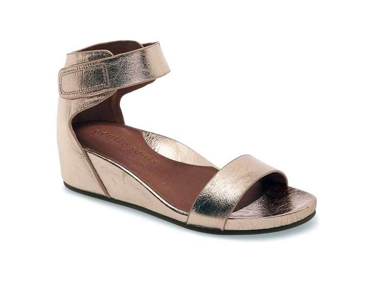 Gentle Souls signature Gianna wedge sandals in Rose Gold