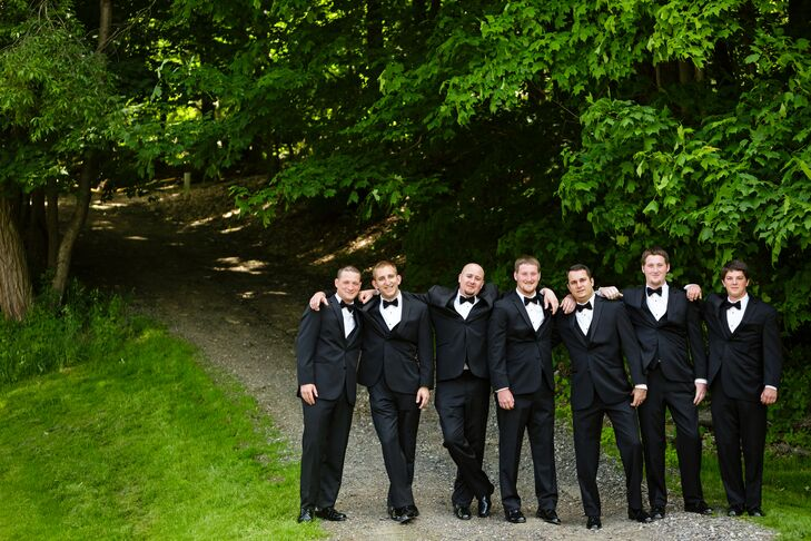 The groomsmen wore traditional black tuxedos from Men's Warehouse.