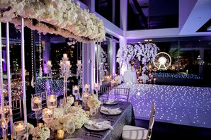 Suspended Ivory Rose and Orchid Centerpiece