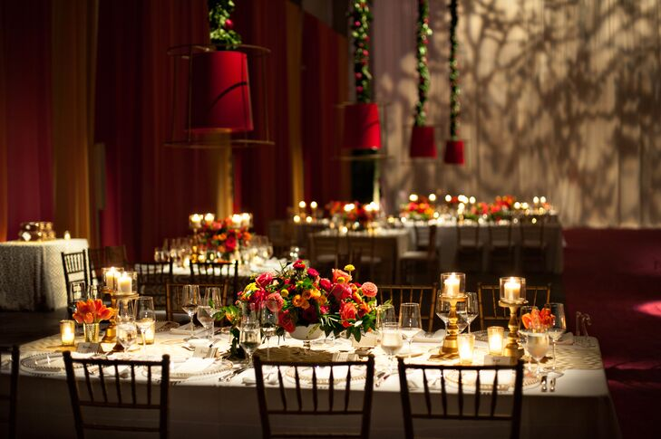 Colorful Orange and Pink Reception Centerpieces