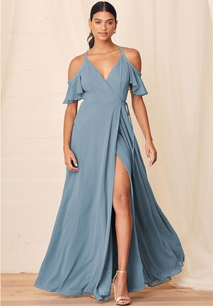 Lulus Easy Listening Slate Blue Cold-Shoulder Wrap Maxi Dress V-Neck Bridesmaid Dress