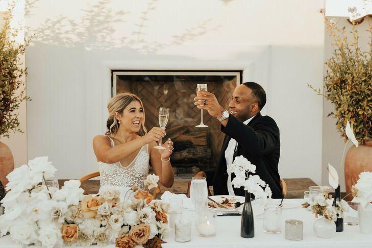 Champagne Toast During Wedding at Hotel Californian in Santa Barbara, California