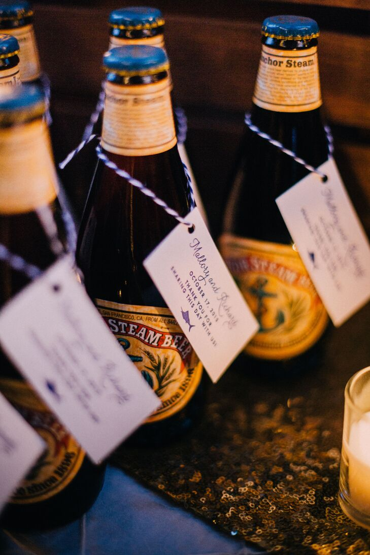 The custom marlin silhouette logo and the same blue kitchen twine that was used on the wedding invitations made an appearance on the favor gift tags. The favors were an assortment of Northern California brews.