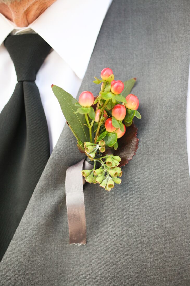 Red Hypericum Berry Boutonniere