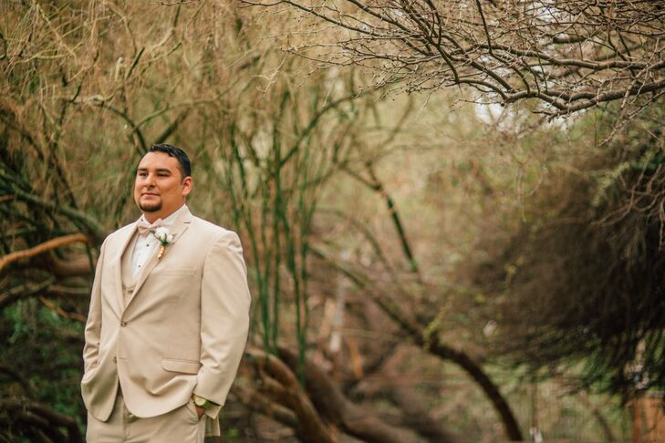 Khaki Groom's Suit at Whispering Tree Ranch