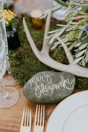 Hand-Lettered Stone Place Card