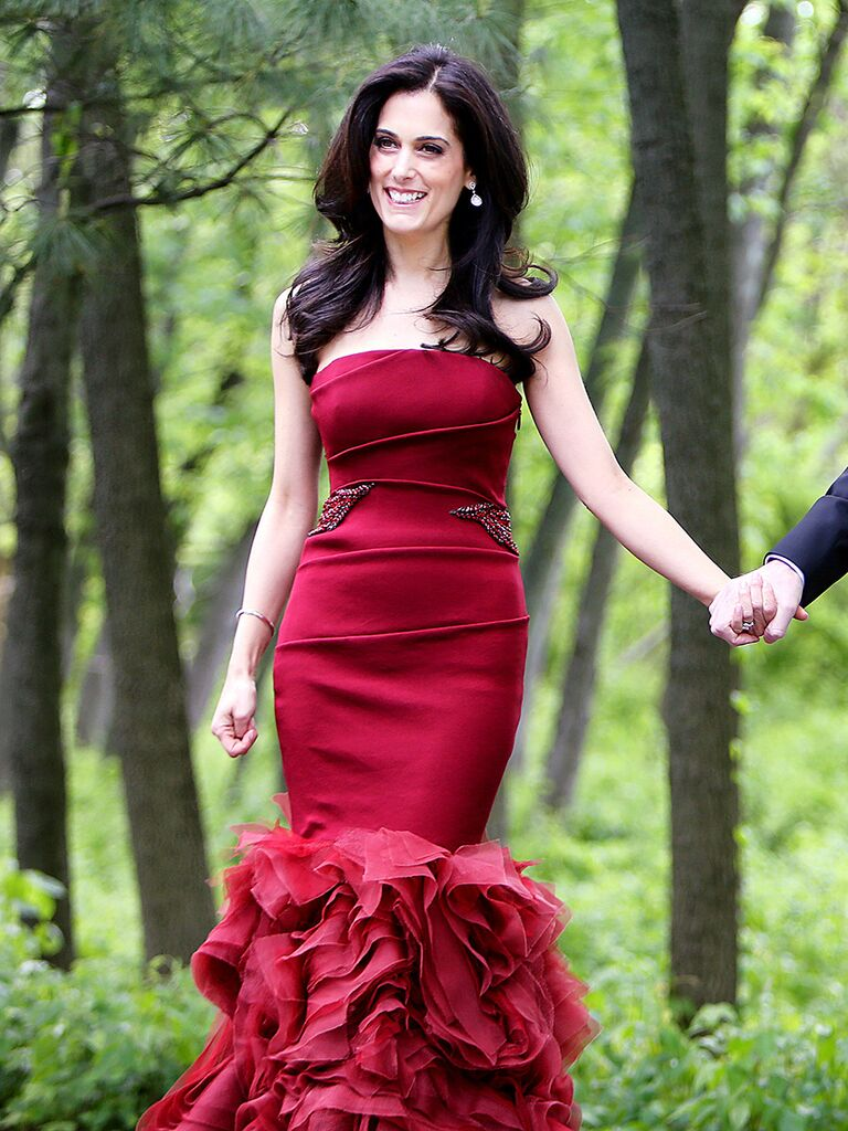Red Vera Wang fit and flare red wedding dress