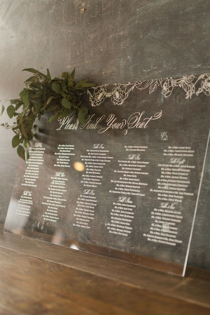 Elegant Acrylic Seating Chart with Leaves and Calligraphy