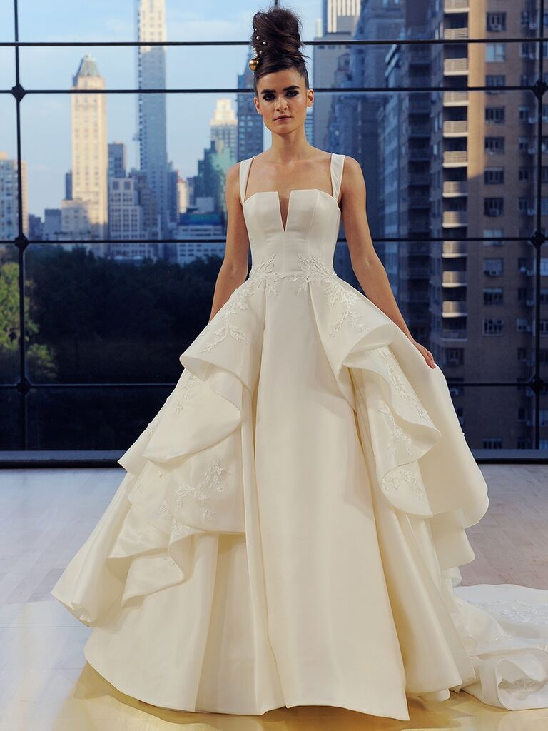 Ines Di Santo Fall 2018 Fulton ball gown with ruffled overskirt