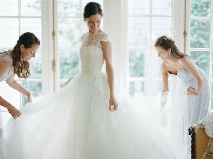 Bride wearing her wedding dress