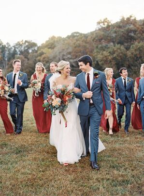 Elegant Gray Blue Suits and Burgundy Ties