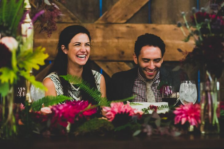 Couple at Reception With Pink Flowers