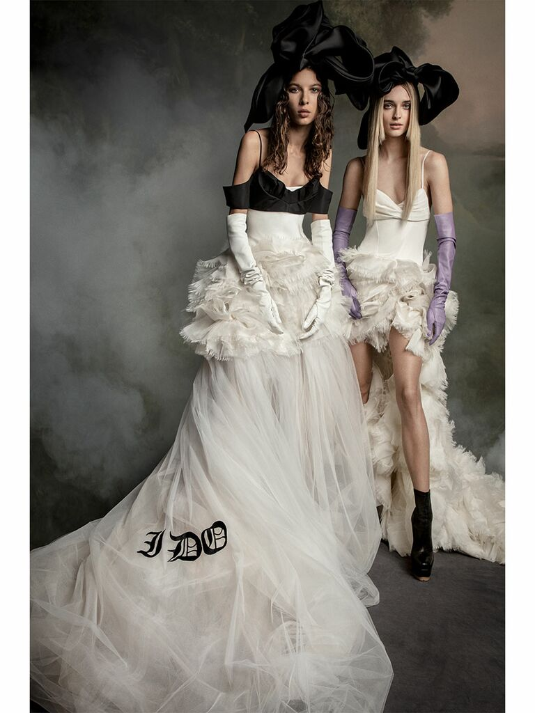 Vera Wang wedding dress black and white dress with all white dress
