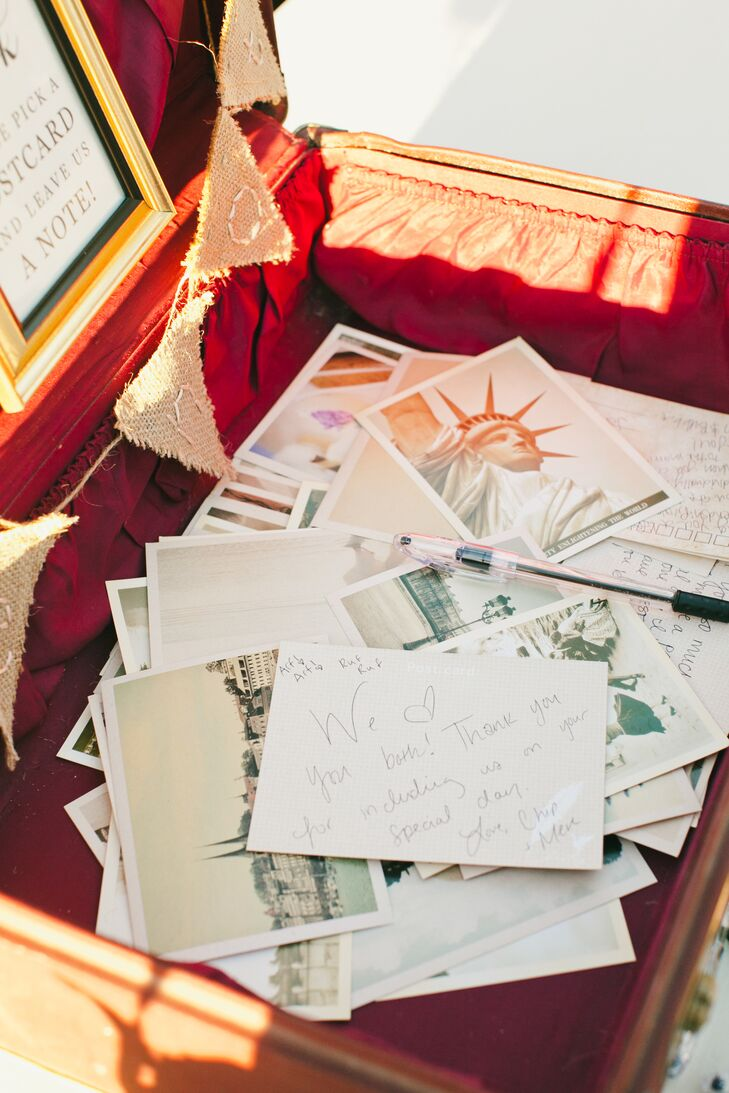 Playing off their subtle travel-inspired theme, Nicki and Jordan ditched the traditional guest book and had their guests share their well wishes and advice on postcards, which they placed in a vintage suitcase.