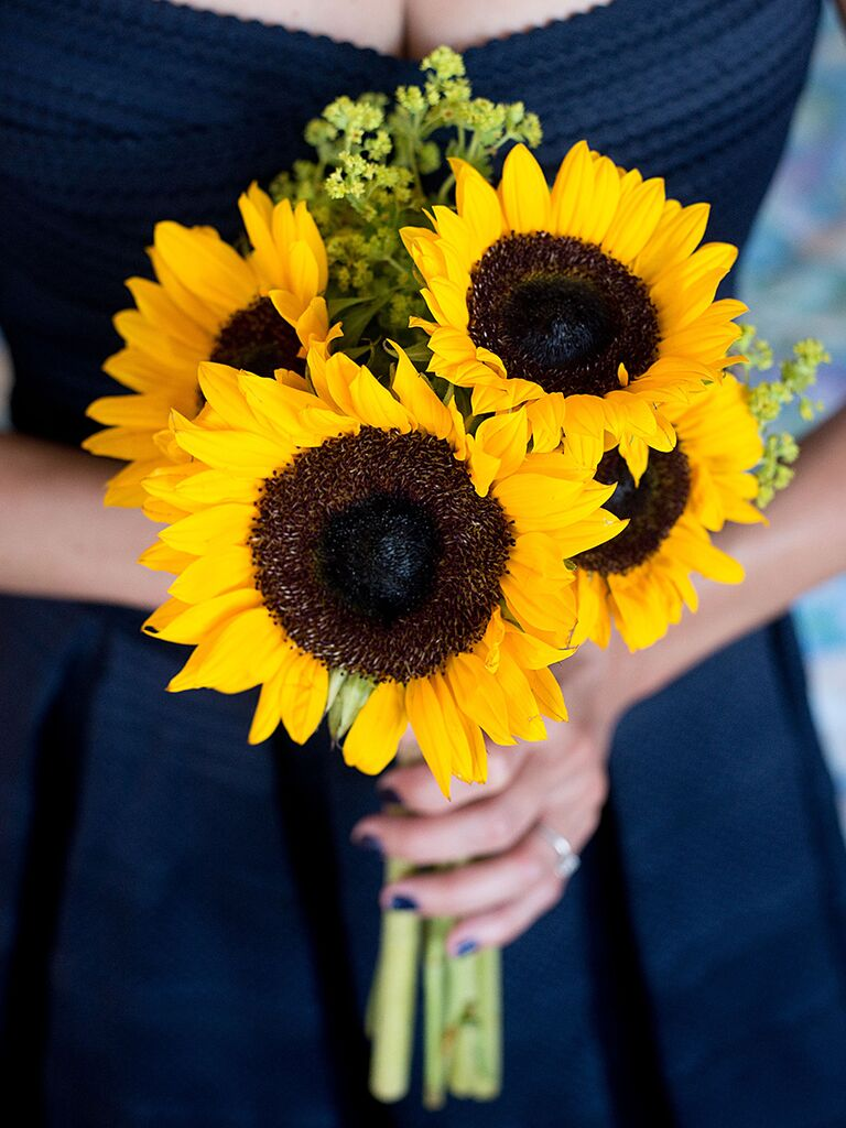 A bridesmaid bouquet with sunflowers