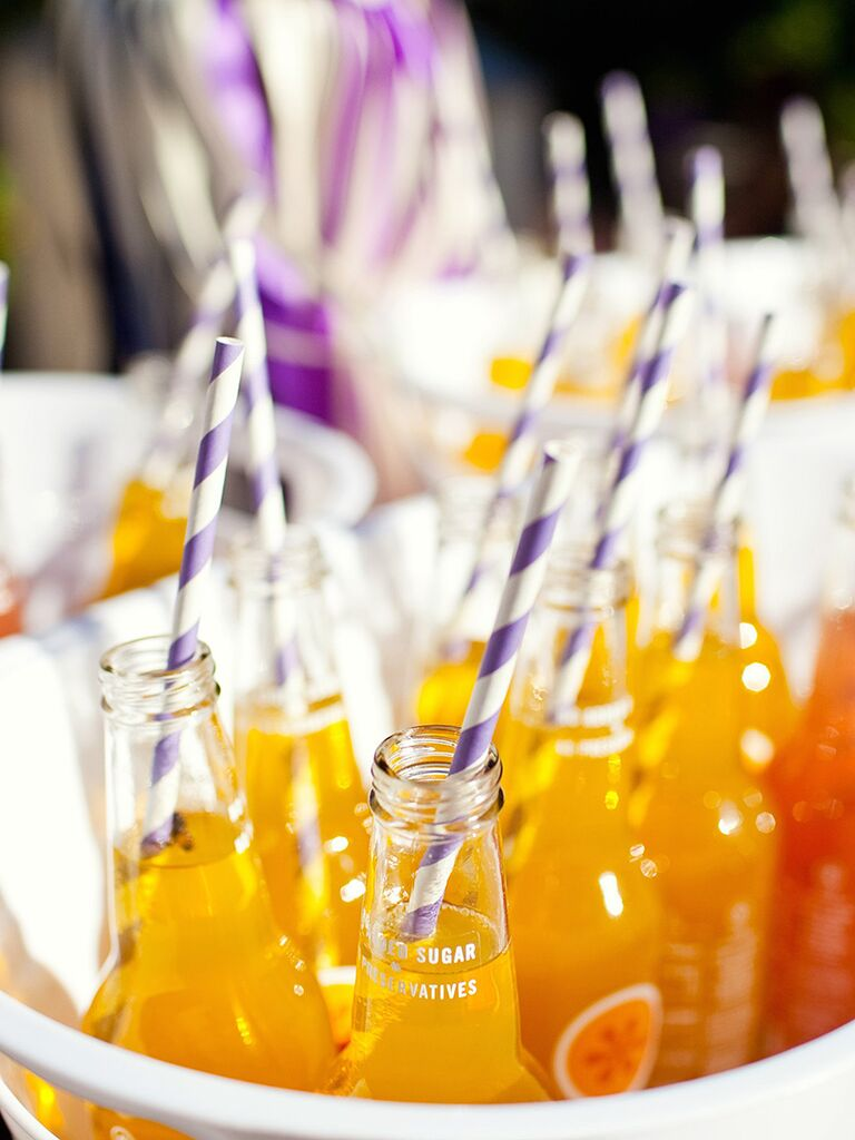 Wedding brunch idea, fizzy drinks with fun straws
