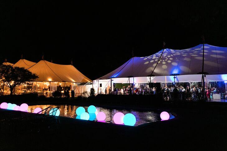 Backyard Reception with Light-Up Balloons in Pool