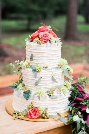 Layered Buttercream Cake with Bright Cake Flowers