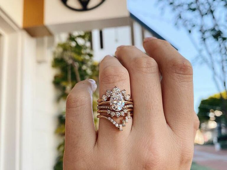 Stacked engagement ring with wedding bands