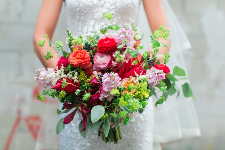 Seeded Eucalyptus, Ranunculus, Stock and Garden Rose Bridal Bouquet