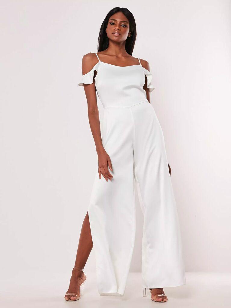 tall white cold shoulder wedding jumpsuit