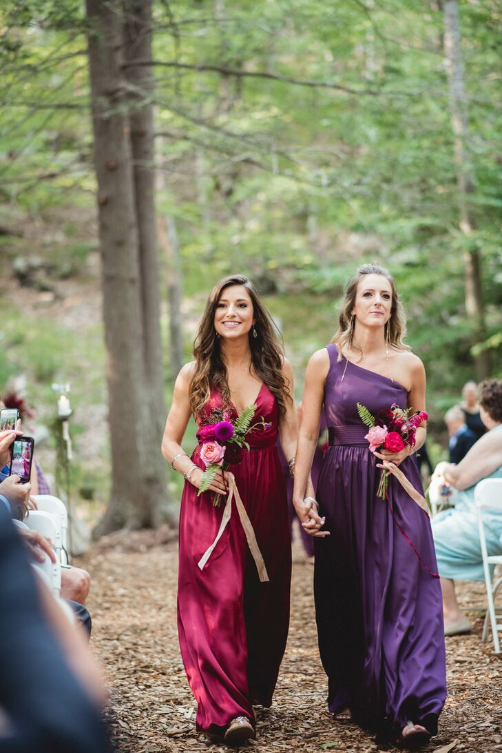 Jenna wanted her bridesmaids to show off their different styles. She pinpointed a palette and let them choose their own dresses. The result was a striking melange of ethereal jewel-tone gowns that played up the day's bohemian feel.