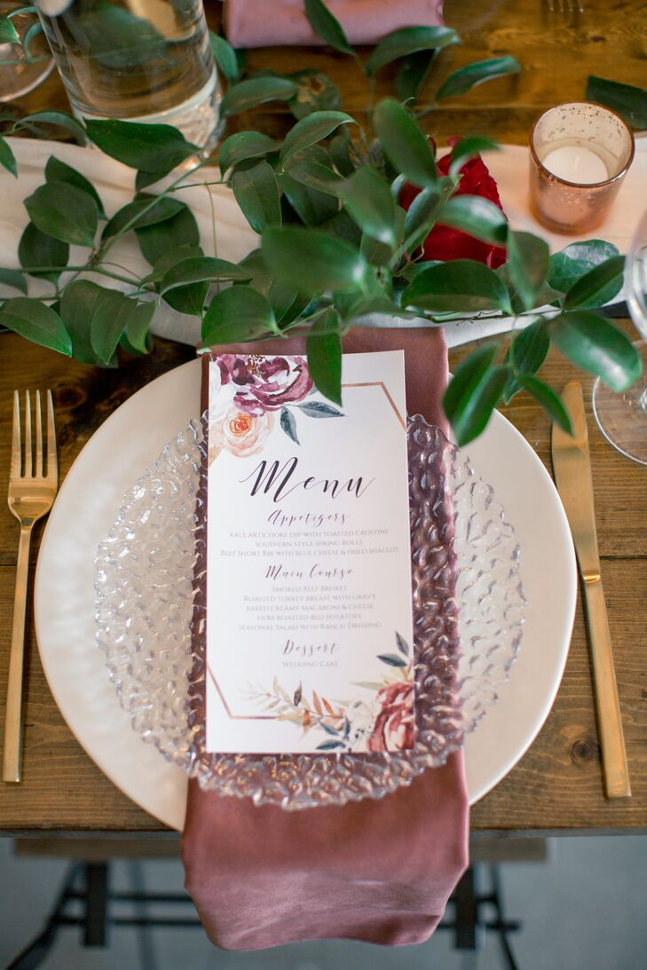 Bohemian Place Setting with Romantic Menu Design