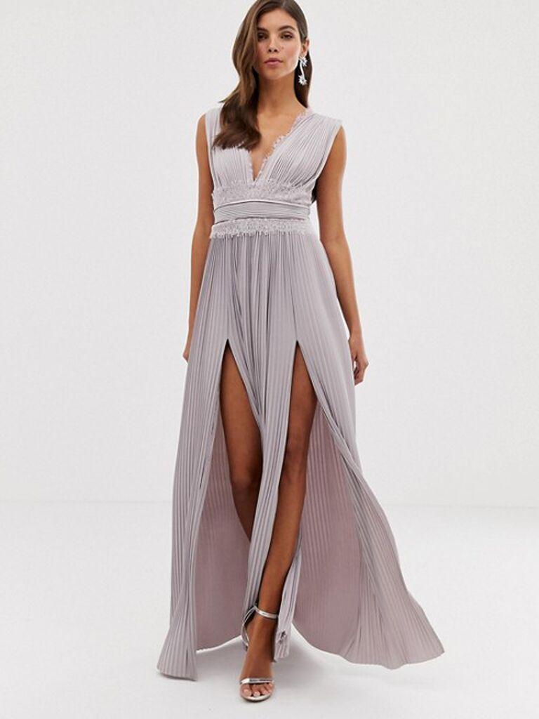 Mauve lace bridesmaid dress