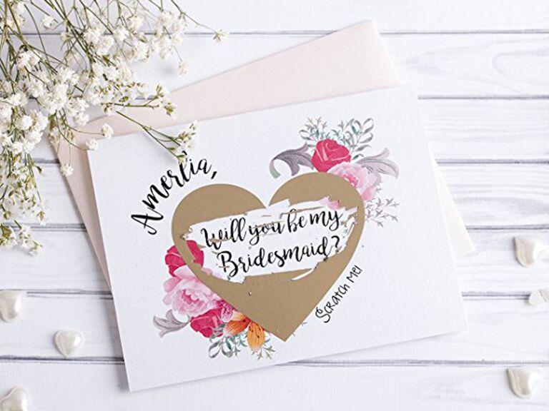 bridesmaid scratch off cards