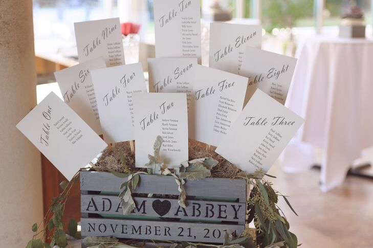 Abbey and Alex's guests found their seat on within a unique rustic gray and black seating chart.
