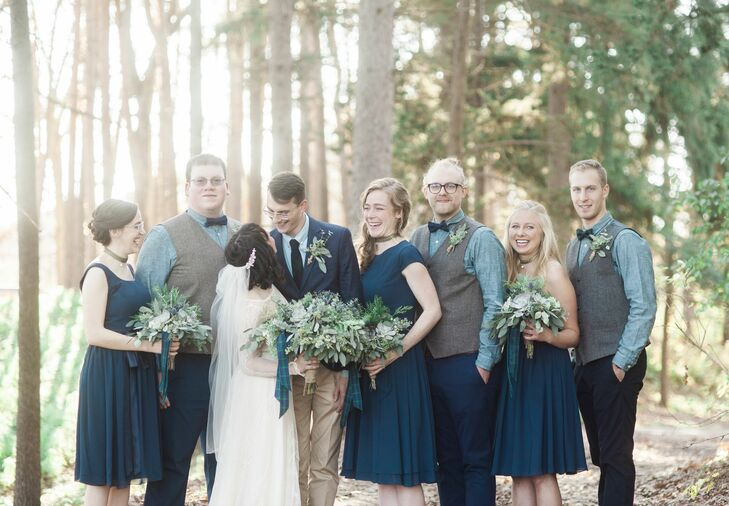 Navy and Tartan Plaid Wedding Party Theme