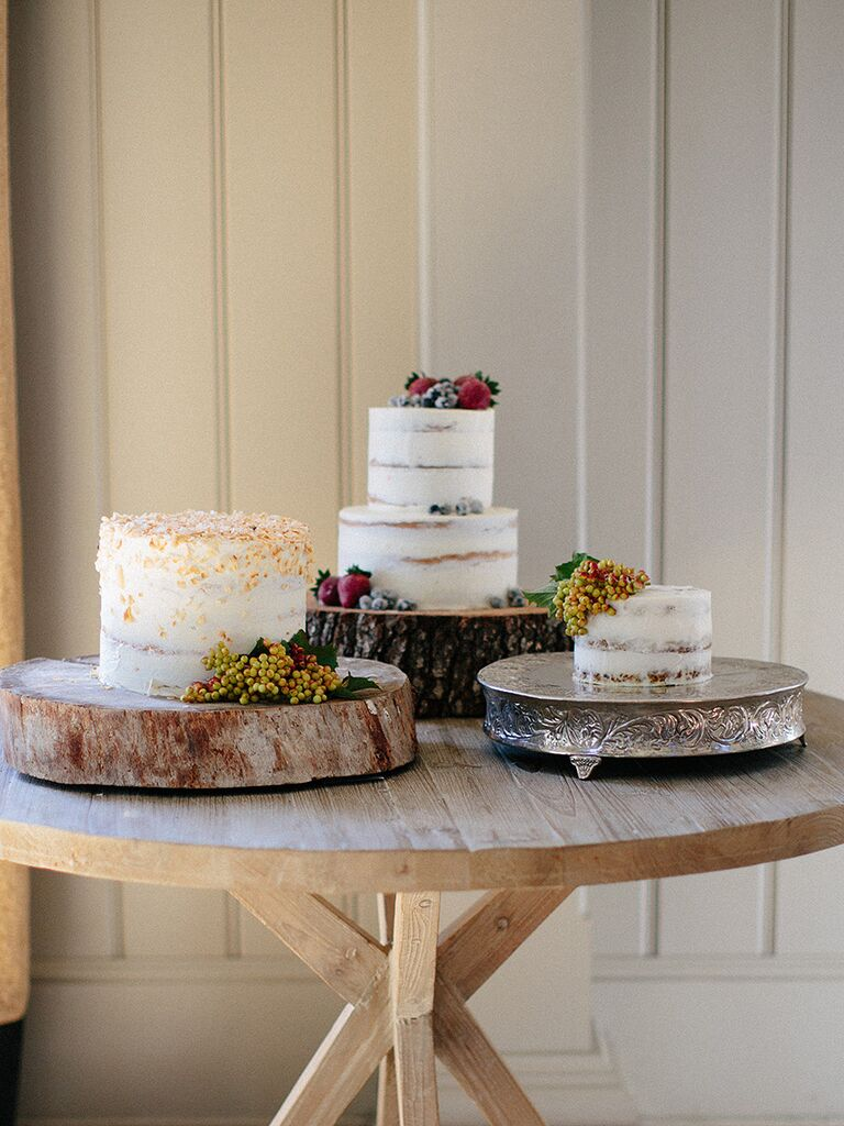 Fall naked wedding cake ideas