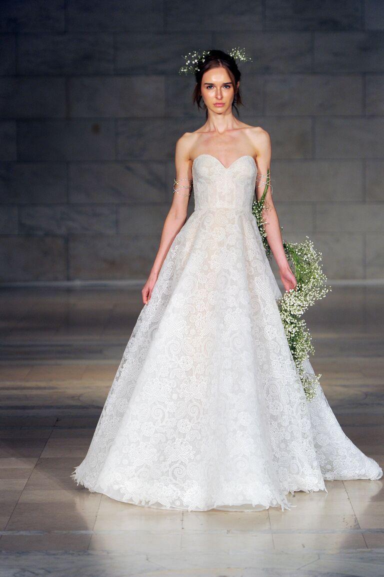 Reem Acra Fall 2018 strapless lace ball gown wedding dress