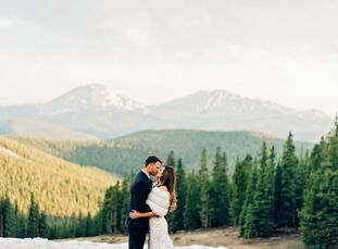 "Lindsay Uhl and John Aherne wanted to give their guests a ""touch of adventure,"" so they got married at Colorado's Timber Ridge Lodge in Keystone. Scen"