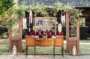Bohemian Escort Card Display with Vintage Furniture