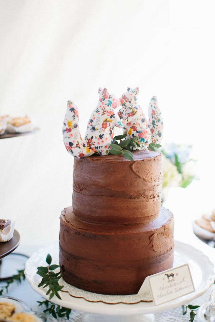 Chocolate Cake with Floral Squirrel Topper