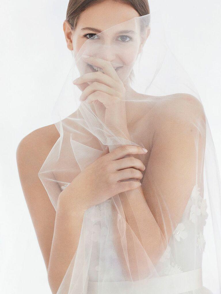 1339770052b Carolina Herrera Fall 2018 sweetheart strapless wedding dress with floral  applique