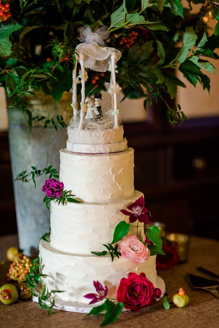 Buttercream Wedding Cake with Cake Topper Figurines