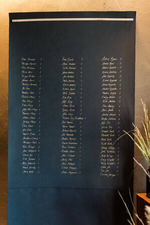 Calligraphed Hanging Seating Chart