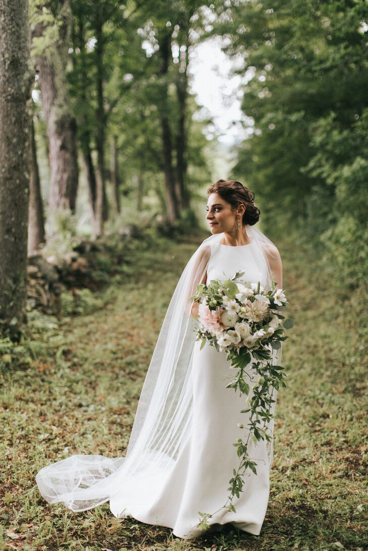 Modern Bride in Long Dress with Cape