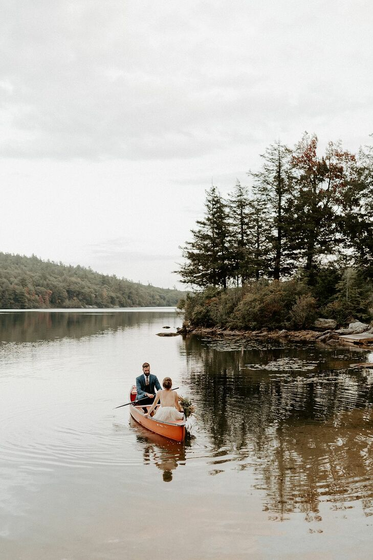 Rustic, Natural Couple on Canoe in Massachusetts