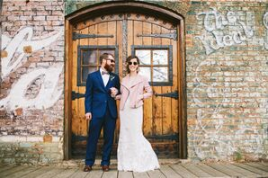 Vintage Couple Wearing Blue Suit, Sunglasses and Pink Leather Jacket