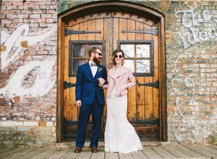 CatherineMorris and Jeff Lear planned a vintage, romantic wedding at a restored warehouse from the 1800s. Brown brick walls created a soft yet indust