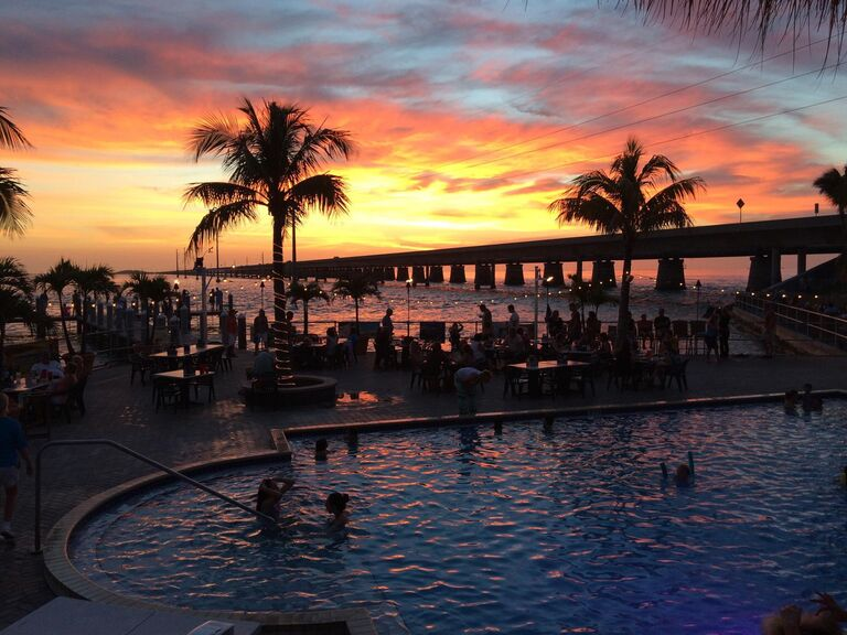 pool and sunset at Sunset Grille in Marathon, Florida