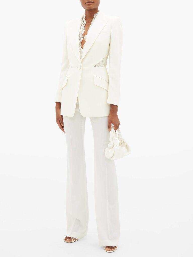 lace trimmed wedding pantsuit
